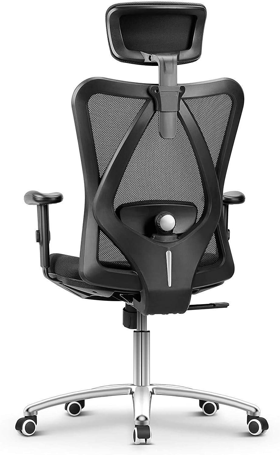 Bürostuhl Ergonomisch Bürostuhl, Schreibtischstuhl Computer Stuhl drehstuhl mit Netz-Design-Sitzkissen, Verstellbare Kopfstütze und Armlehnen, Wippfunktion, Sitzhöh, Maximale Belastbarkeit 150 kg