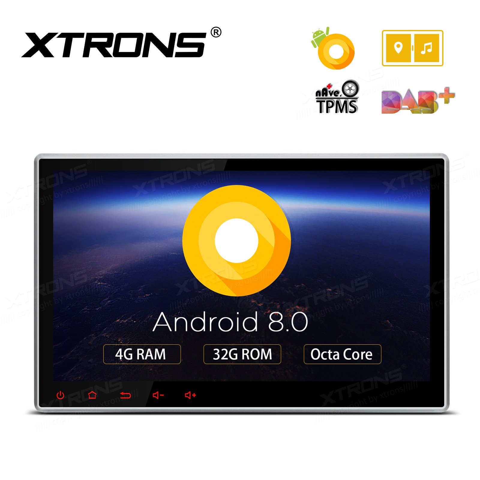 XTRONS 10.1 Inch Android 8.0 Octa Core 4G RAM 32G ROM HD Digital Multi-touch Screen Car Stereo GPS Radio DVD Player Adjustable Viewing Angles OBD2 TPMS Wifi