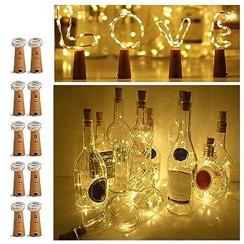 10× 20 LED Weinflasche Kork String Light Nacht Lichterkette Party Flaschenlicht
