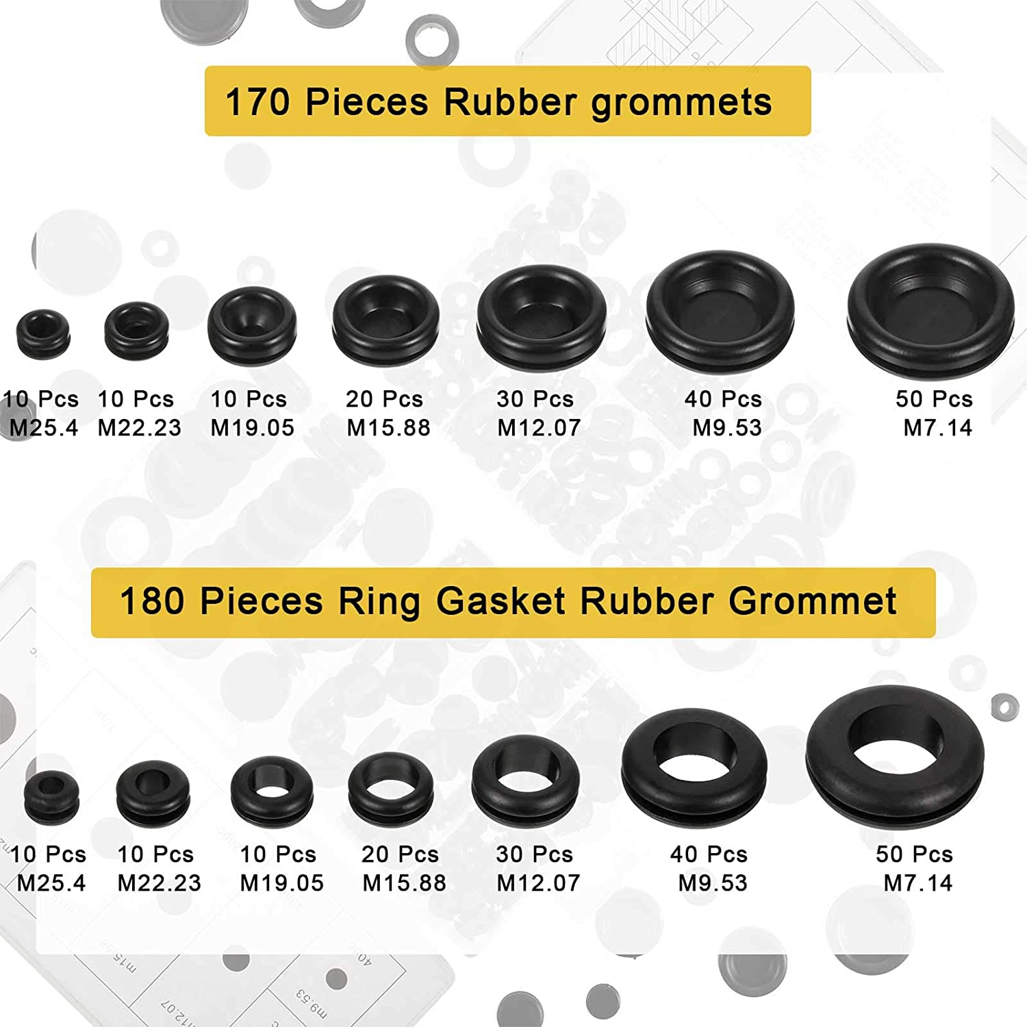PC Hardware Piano 350 Pieces Rubber Grommet Assortment Kit Firewall Hole Plug Electrical Wire Gasket Rubber Ring Gasket with Plastic Box 15 Sizes for Automotive 2 Boxes Plumbing