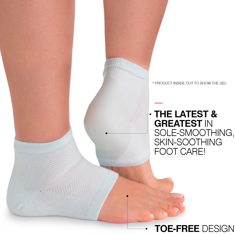 Cracked Heels Moisturizing Gel Socks + Bonus Gift – Softening Essential Oil Infused Sleeves for Women & Men| Soothing Spa Vented Rough Skin Treatment for Dry Feet | Moisturizer Repair - by CareMe+ by CareMe+ (Image #4)