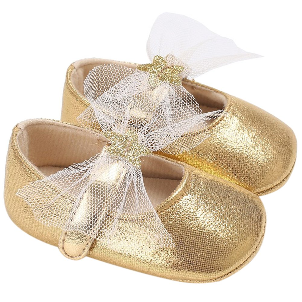 Fire Frog Baby Girls Mary Jane Shoes Stars Bow Wedding Princess Dress Costume Infant Toddlers Prewalker