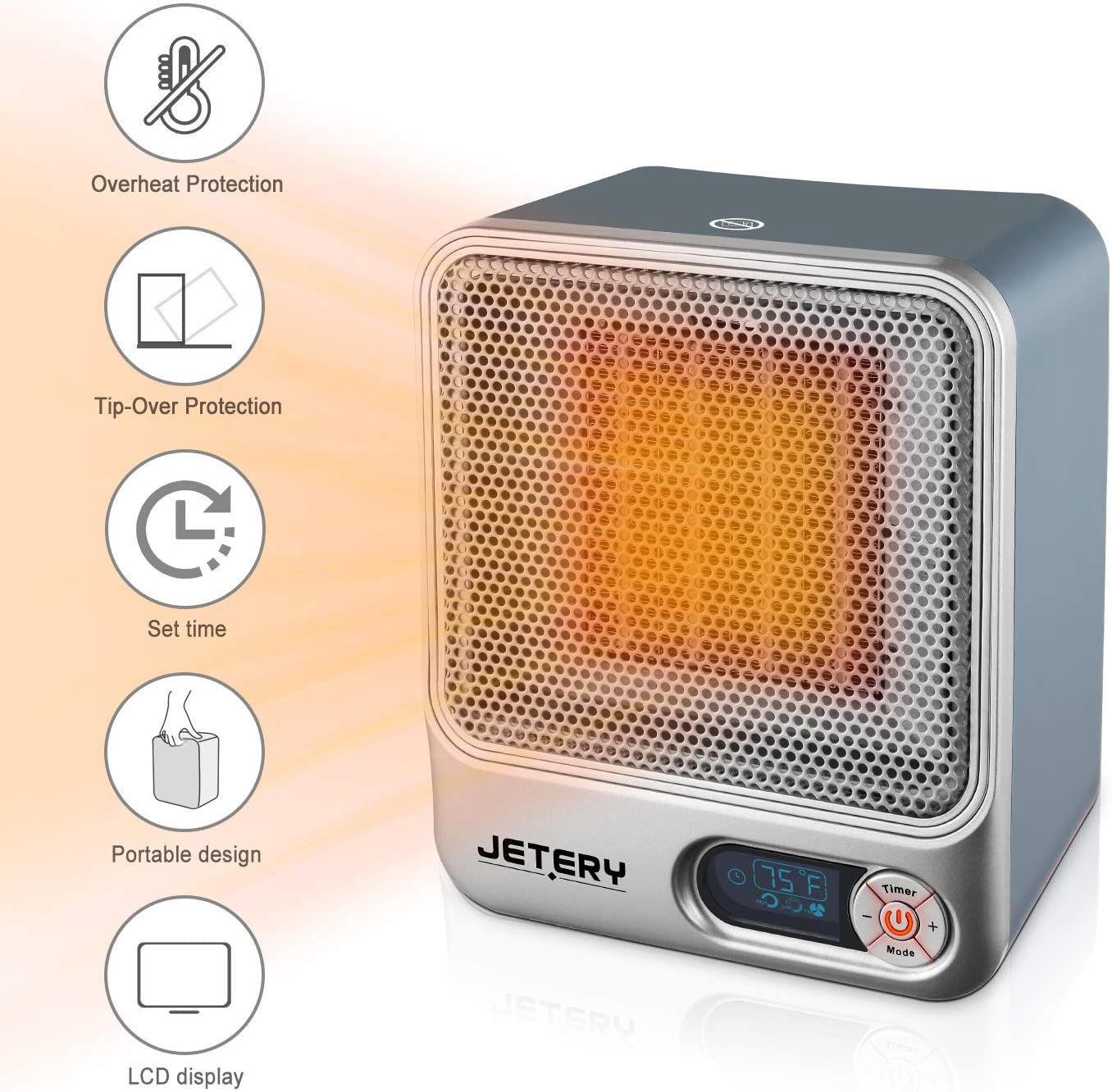 JETERY 1500W PTC Space Heater, Heating System for Bedroom & Office, Portable Electric Heater with Adjustable Thermostat - Overheat Protection, Silver