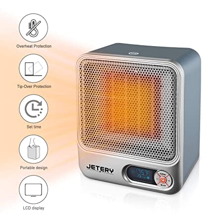 JETERY 1500W PTC Space Heater, Heating System for Bedroom Office, Portable Electric Heater with Adjustable Thermostat – Overheat Protection, Silver