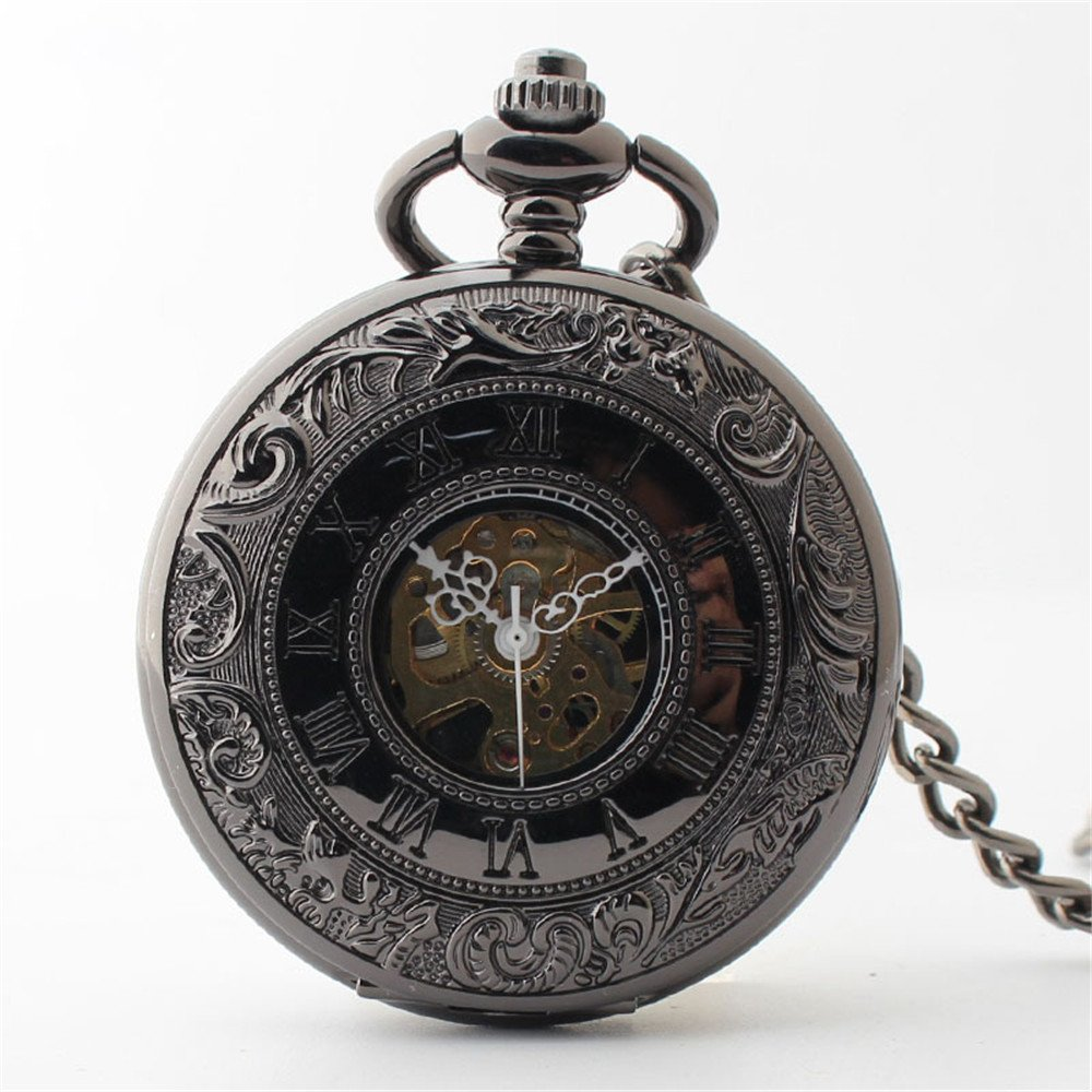 Zxcvlina Classic Smooth Creative Black Mechanical Pocket Watch Boutique Smooth Watchcase Double Open Retro Unisex Pocket Watch with Chain Suitable for Gift Giving by Zxcvlina (Image #3)