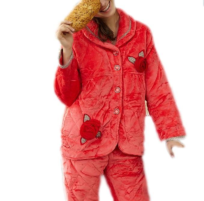 QPALZM Nuevo Pijama Cálido De Tela Pijamas Gruesas Para Mujer,Red-XL