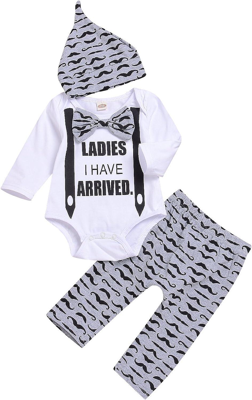 3Pcs Newborn Baby Boy Girls Bowtie Letters Romper Suit+Long Moustache Pant+Hat Kid Playsuit Pajamas