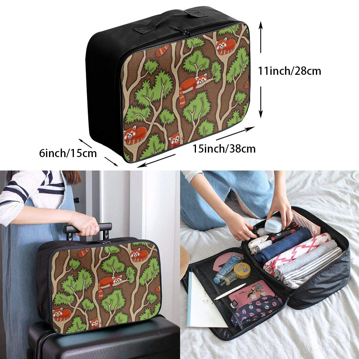 ADGAI Forest Red Panda Canvas Travel Weekender Bag,Fashion Custom Lightweight Large Capacity Portable Luggage Bag,Suitcase Trolley Bag