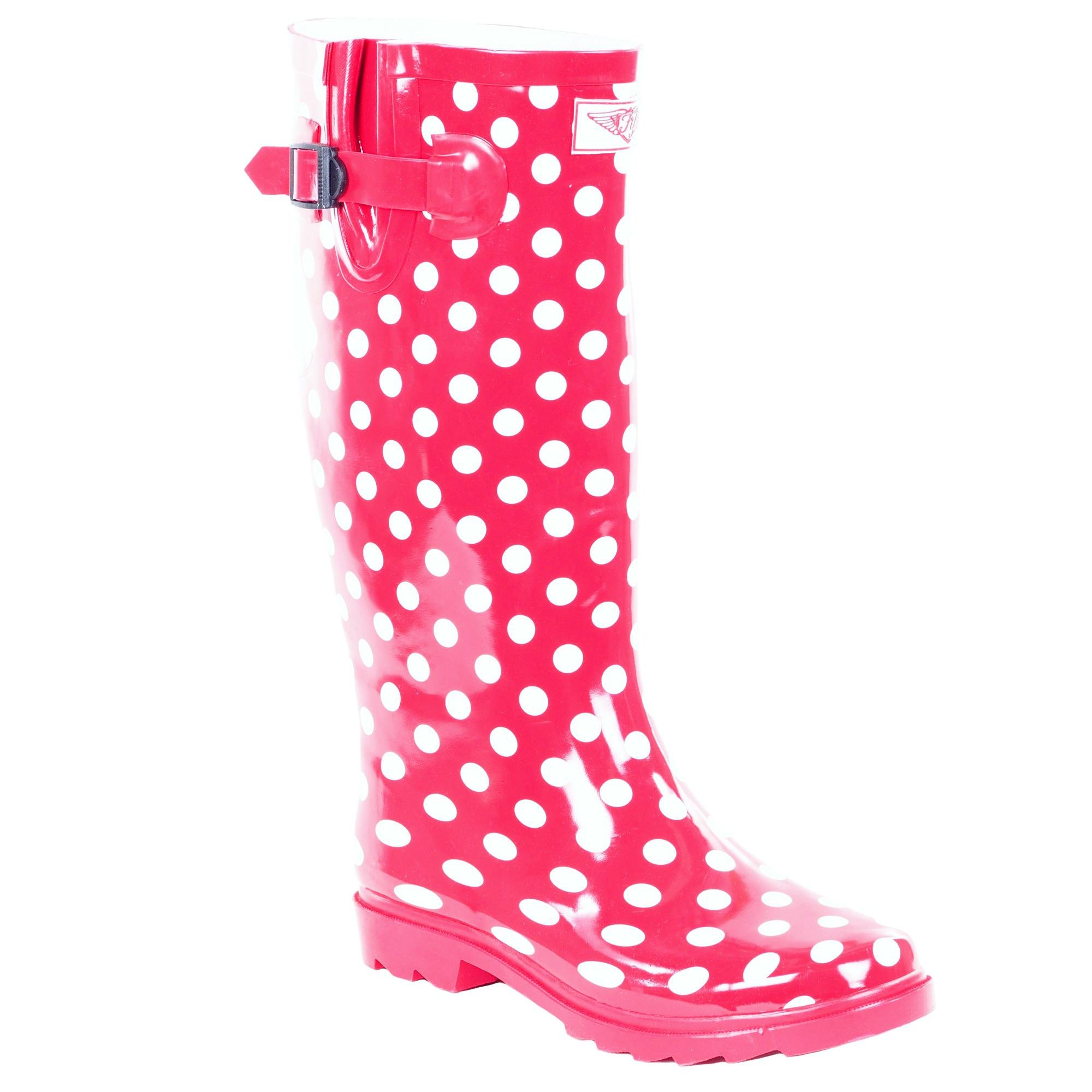 Forever Young Women's Polka-Dot Print Rubber Rain Boots, 8, Red