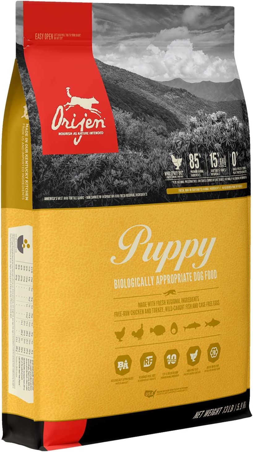 ORIJEN Puppy Dog Food, Grain Free, High Protein, Fresh & Raw Animal Ingredients, 13lb