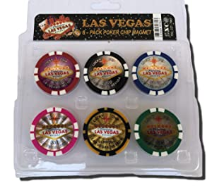 Las Vegas Poker Chip Refrigerator Magnets Set of 6