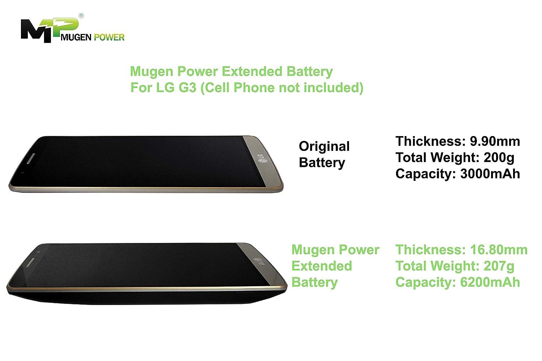 Mugen Power Batería de 6200 mAh para LG G3 tapa de la puerta. Carga inalámbrica NFC más de 2 x más Potencia.