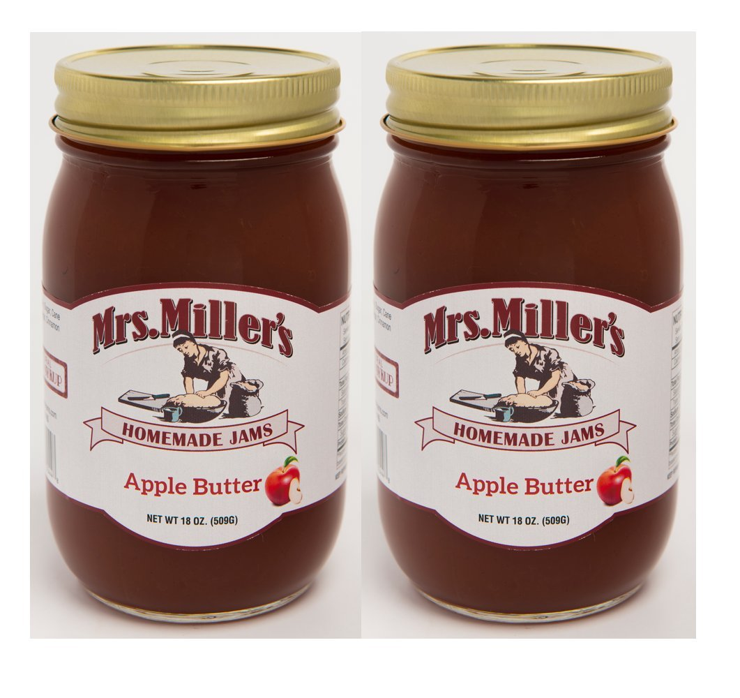 Mrs Miller's Amish Homemade All Natural Apple Butter 18 Ounces - 2 Jars (No Corn Sugar)