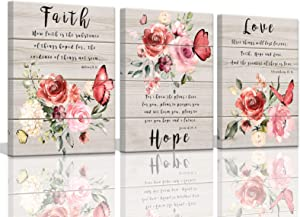 Wall Art for Bedroom Butterfly Wall Pictures Floral Paintings Faith Hope Love Quotes Inspirational Wall Art Watercolor Pink Flower Blossom Prints Bedroom Decor for Women Canvas Art 12x16inchx3pcs