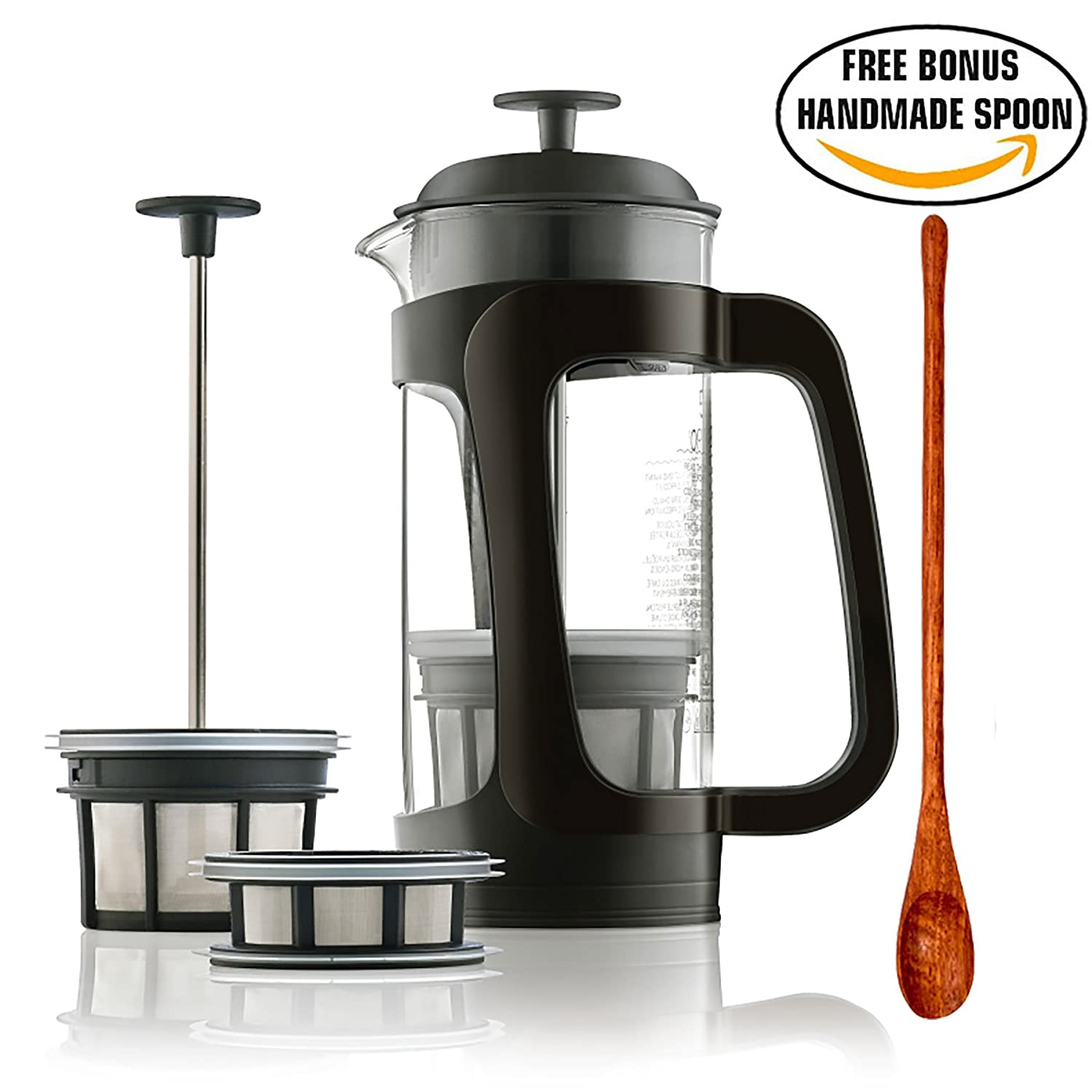 Espro P3 - French Press Coffee Maker with Thick & Durable SCHOTT Duran glass + Bonus Wooden Stirring Spoon
