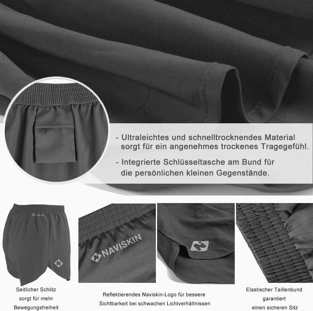 NAVISKIN Pantalones Cortos para Hombres Shorts Deportivos de Correr Fitness Secado R/ápido Ligero S/úper Transpirable El/ásticos 7.6cm