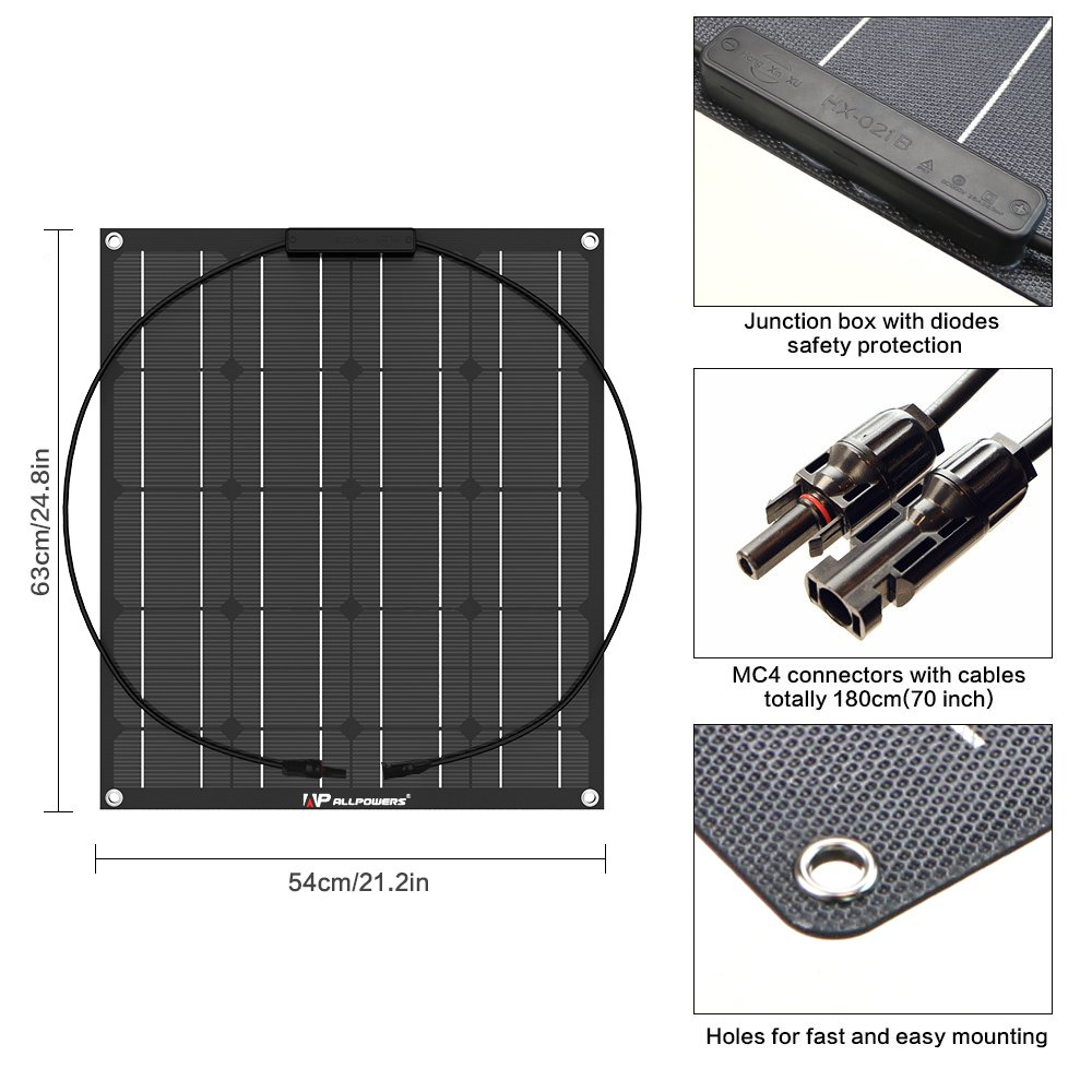 Trailer Car Other Off Grid Applications Tent ALLPOWERS Solar Panel 160W 18V 12V Semi Flexible Solar lModule Cabin Boat Water-resistant Solar Charger for RV with ETFE Layer, MC4 connectors