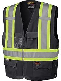 Pioneer Adjustable Reflective Safety Vest, ID & Phone Pockets, Black, S/M, V1021570-S/M