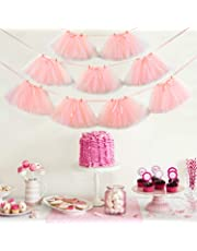 Noex UK 9 PCS Tutu Table Skirt, Mini Pink Tulle Tutu Garland Lace and Bow Ballet skirt for Birthday Event Wedding Party Decoration ( 29.53 ft Pink Ribbon)