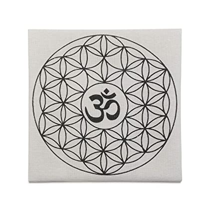 CrystalTears Printed Flower of Life with OM Symbol Sacred Geometry Crystal  Grid Altar Cloth, Healing Spiritual Reiki Metaphysical