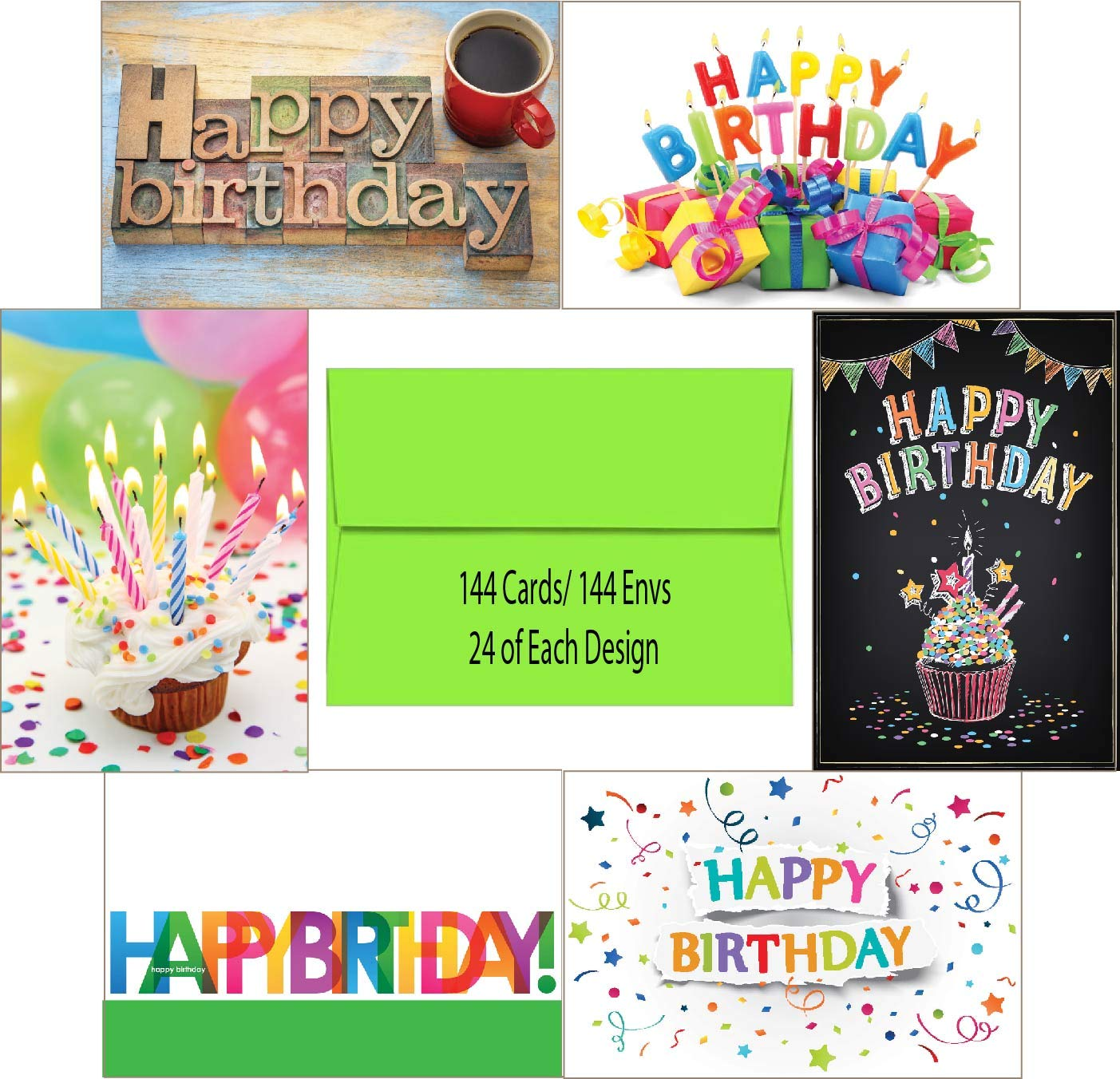 144 Blank Birthday Card Assortment Box Set Bulk with A4 Envelopes and Cards 24 Each Design for Employees, Office, or Clients, Blank Inside, Made in USA by Lone Star Greetings