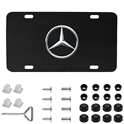 Mercedes Benz Logo Black Carbon Fiber Stainless Steel Front License Plate with Caps for Mercedes Benz CLA CLS C E S SL SLK GL.(DIY Logo): Automotive