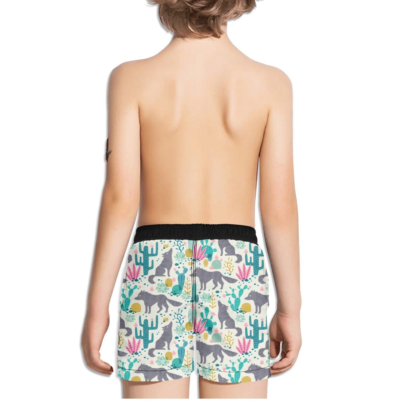 FullBo Wolf and Cactus Pattern Little Boys Short Swim Trunks Quick Dry Beach Shorts