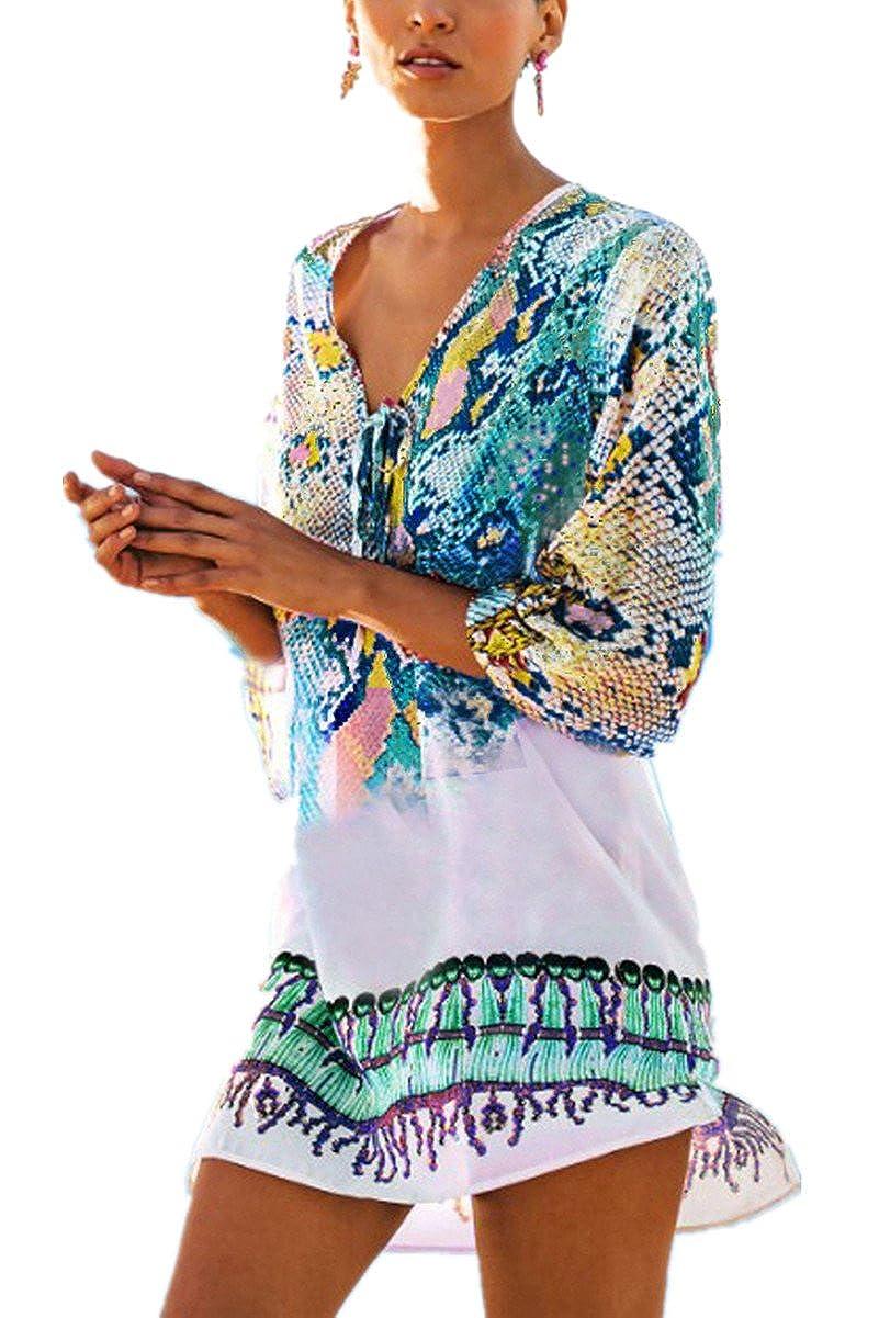 L-Peach Damen Strand-Kleid Bikini Sommerkleid Sommer-Strand-Bikini Modisches Strandkleid One Size