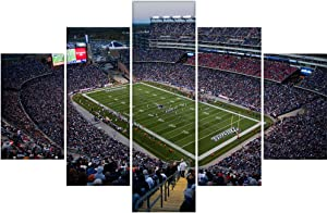 5 Pcs Elevated View of Gillette Stadium HD Poster on Canvas Fashion Wall Decorations Home of Super Bowl Champs New England Patriots Home decor Wooden Framed Stretched Ready to Hang(60''Wx40''H)