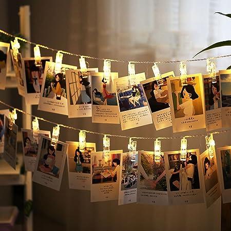 NiceButy Lumi/ère Cha/înes D/écoration Guirlande Lumineuse 50 Led 5 M/ètre pour D/écor Mariage Mural Chambre Afficher Photo Pictures Artwork D/écor LED pour Les F/êtes