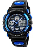 Boys Teenagers Kids Children Digital Sports Watch Multifunction 50M Waterproof Electronic Timer Digital Watch with Stopwatch LED Light Alarm for Teenagers Junior Boys Kids Wrist Watches ( Blue )