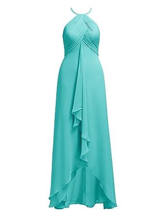 3a9ab979ea4 Alicepub 2017 Hi-Lo Chiffon Bridesmaid Dresses Halter Formal Bridal Party  Dress