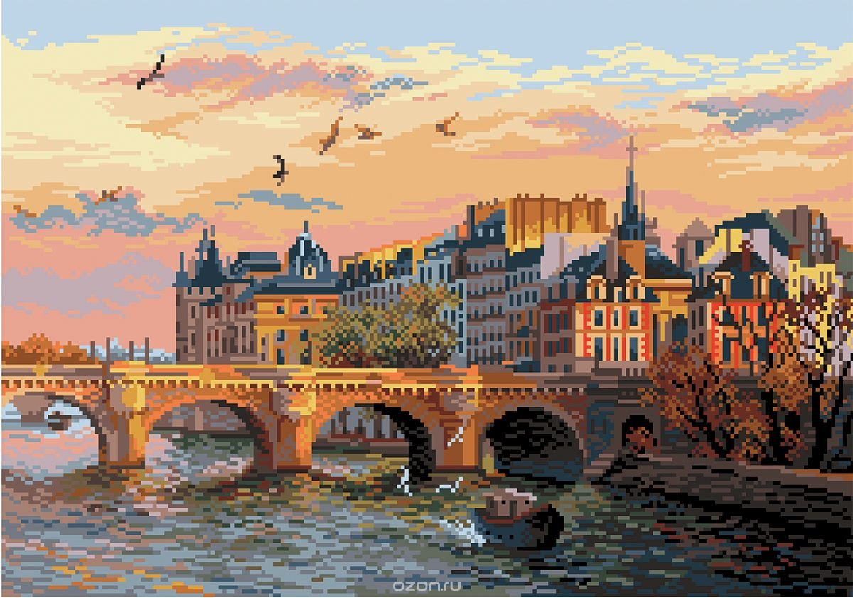 Printed Needlepoint Canvas (''Promenade of The Seine 1737) by D'art