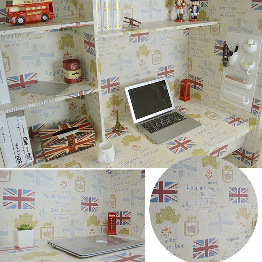 SimpleLife4U Retro Flag British Style Shelf Drawer Liner Peel & Stick Vinyl Furniture Paper Decorative Locker Sticker 17.7 Inch by 13 Feet