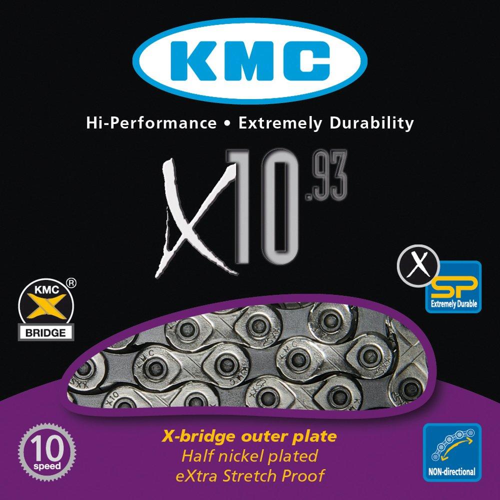 KMC Chain X-10-93 Cadena Estrecha, Unisex adulto, Gris, 114 eslabones 300836