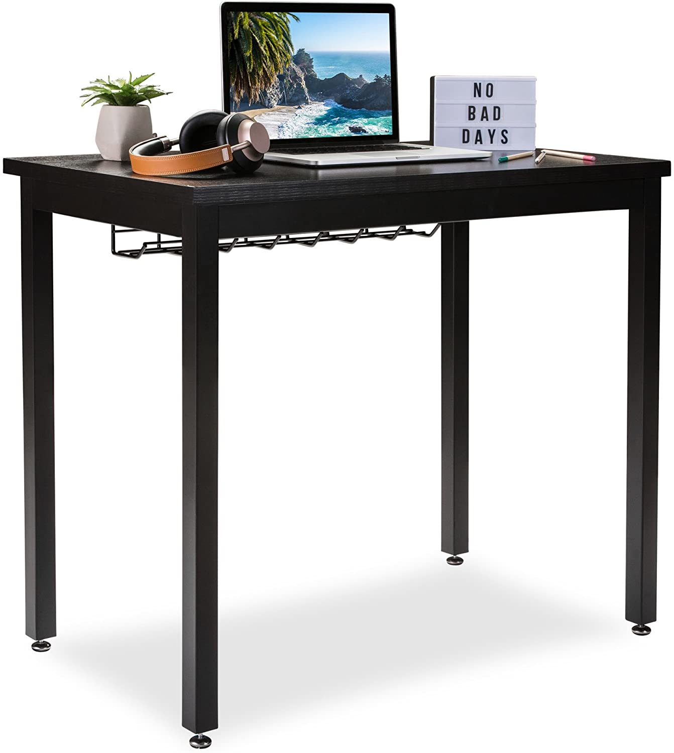 "Small Computer Desk for Home Office - 36"" Length Table w/Cable Organizer- Sturdy and Heavy Duty Writing Desk for Small Spaces and Students Laptop Use - Damage-Free Promise (Black)"