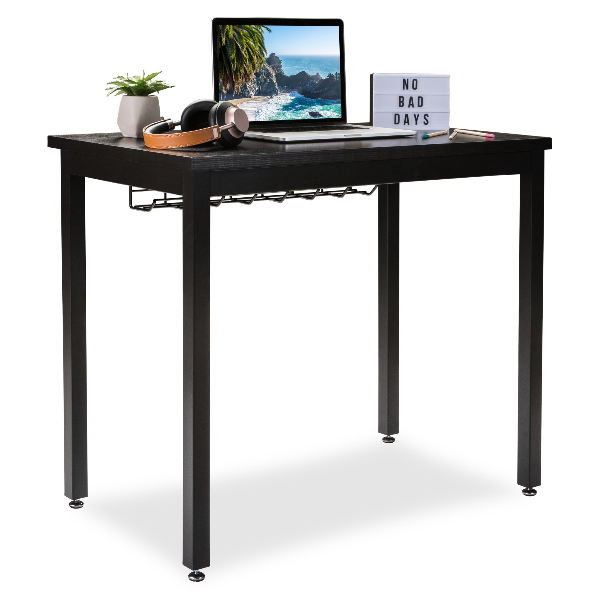 """Small Computer Desk for Home Office - 36"""" Length Table w/Cable Organizer- Sturdy and Heavy Duty Writing Desk for Small Spaces and Students Laptop Use - Damage-Free Promise (Black)"""