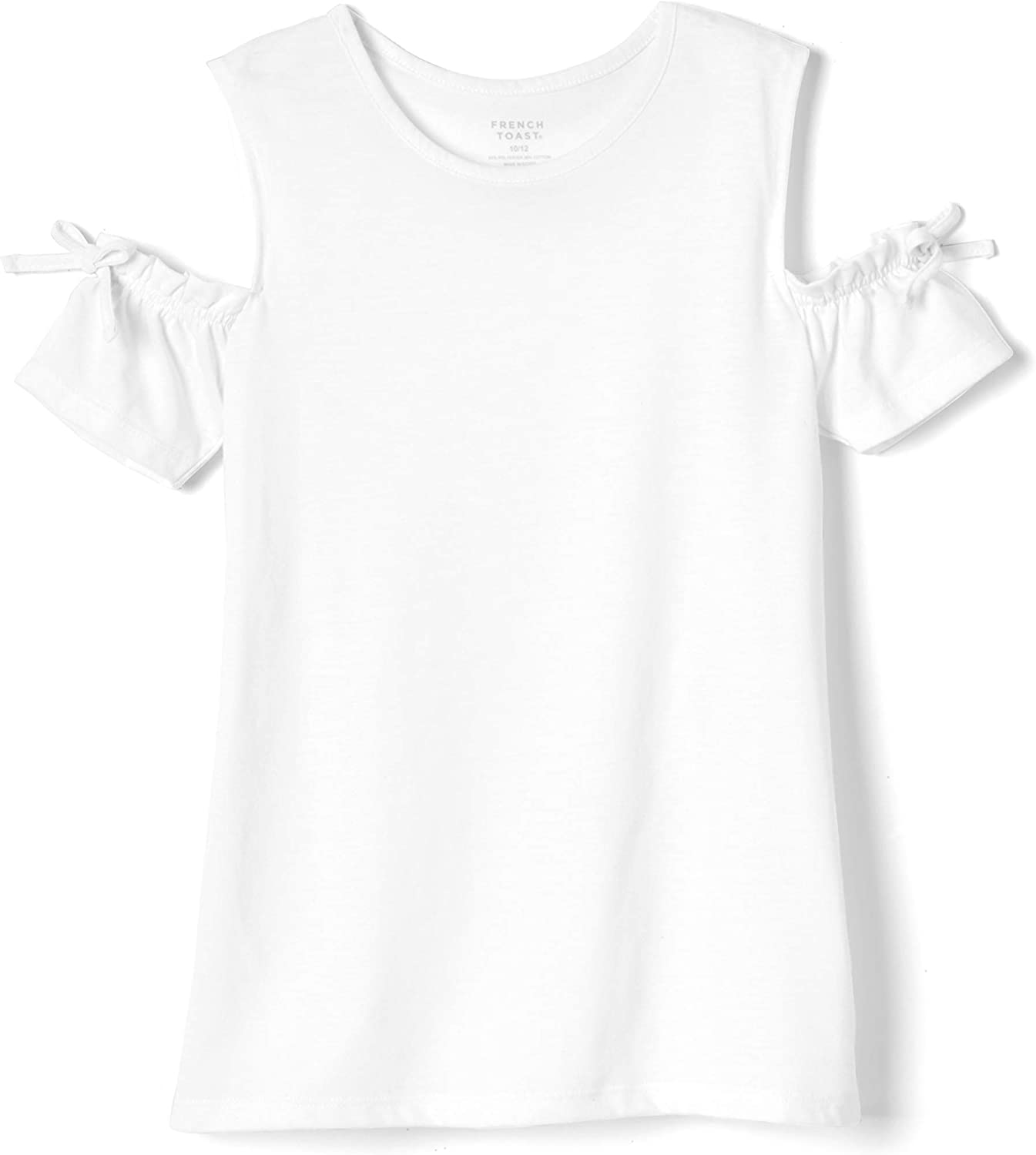 French Toast Girls Short Sleeve Bow Cold Shoulder Top