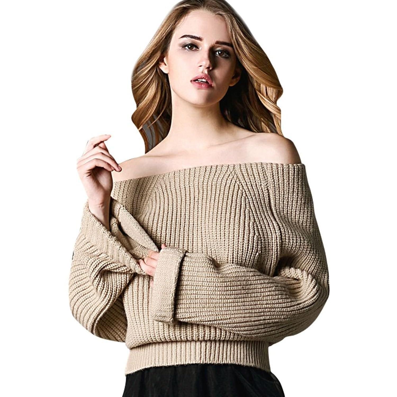 ELINKMALL Women's Long Sleeve Loose Off Shoulder Pullover Sweater Coat