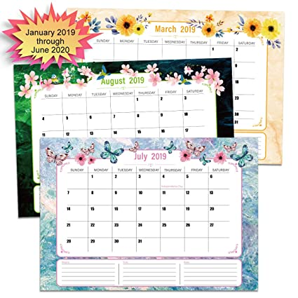 Calendrier Om 2020 16.Paperkiddo Desk Calendar 2019 2020 16 X11 Large Monthly Pages From January 2019 Through June 2020 Wall Calendar Monthly Planner Marble Pattern