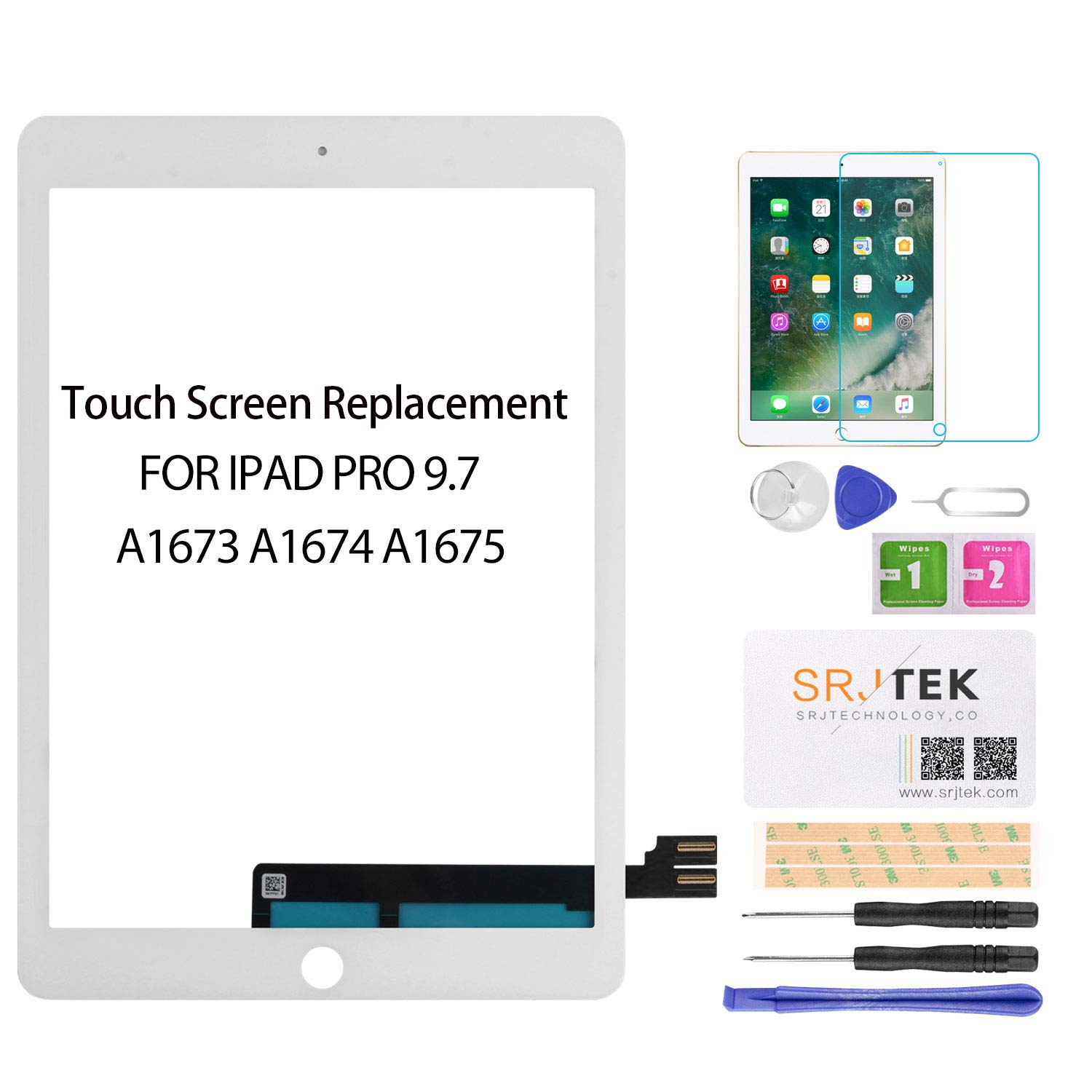 SRJTEK for iPad Pro 9.7 Screen Replacement Touch Screen Replacement,Touchscreen,Touch Digitizer,Glass Repair Parts Assembly Kit for iPad Pro 9.7 2016  A1673 A1674 A1675(LCD Not Include) White