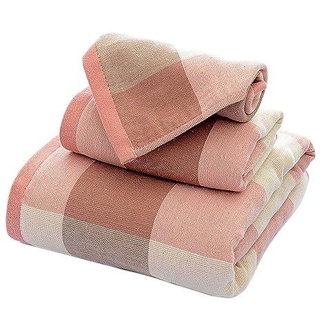 Toalla de Tela Escocesa de algodón Suave Toalla de baño de casa de Tres Piezas (