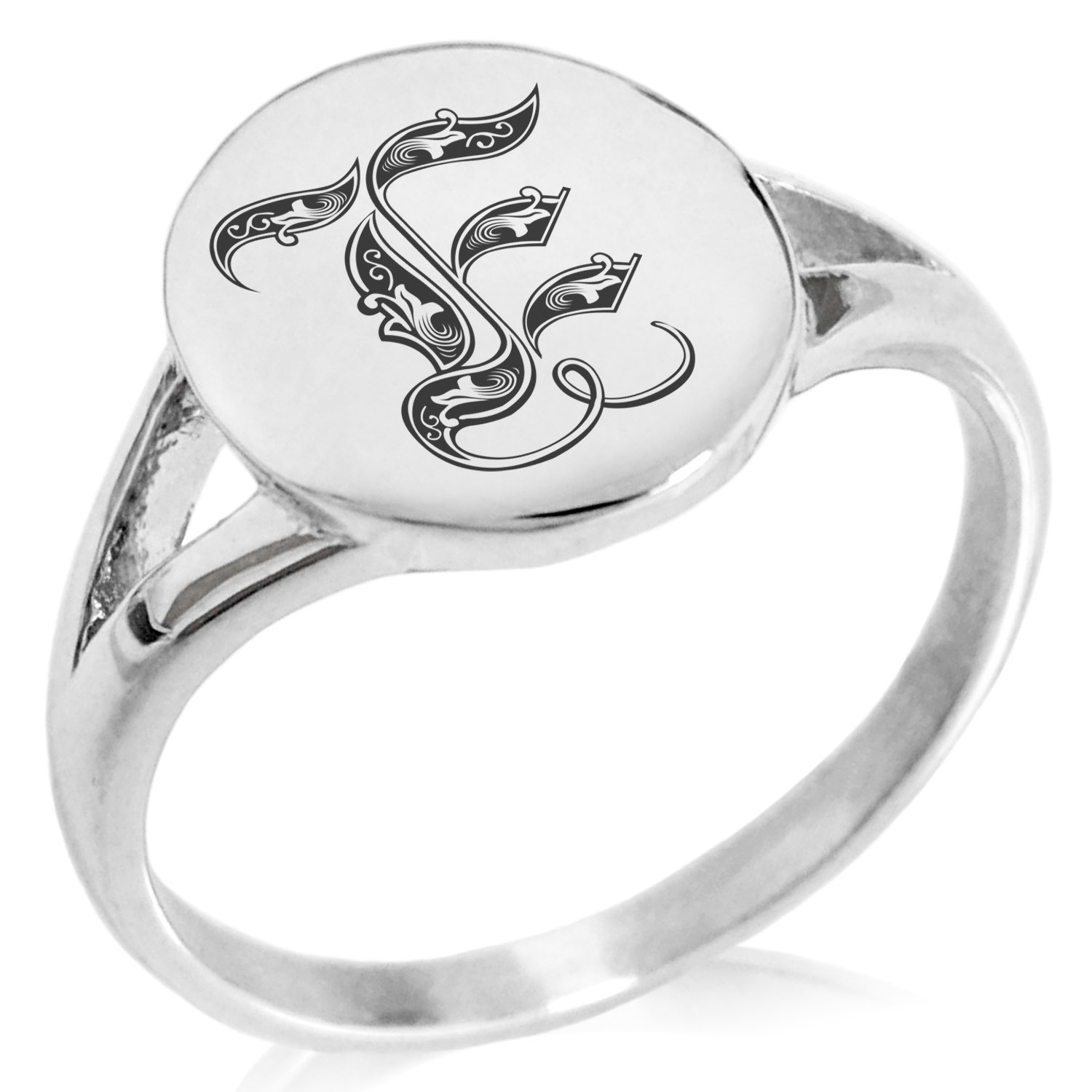 Tioneer Stainless Steel Letter E Alphabet Initial Royal Monogram Minimalist Oval Top Polished Statement Ring, Size 8