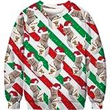 Honeystore Unisex Ugly Christmas Sweatshirt 3D Print Pullover Sweater Shirt
