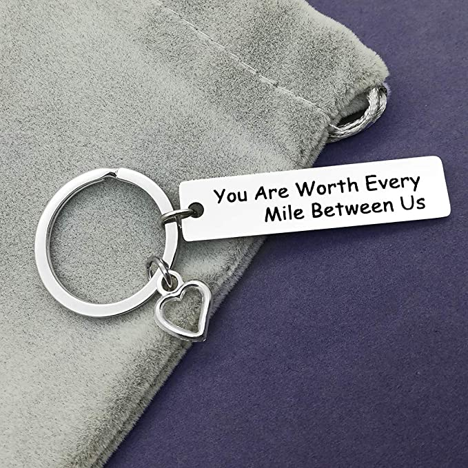 You Are Worth Every Mile Between Us Valentines Keychain Gifts for Boyfriend Girlfriend,Romantic Keychain Gifts for husband wife Couple