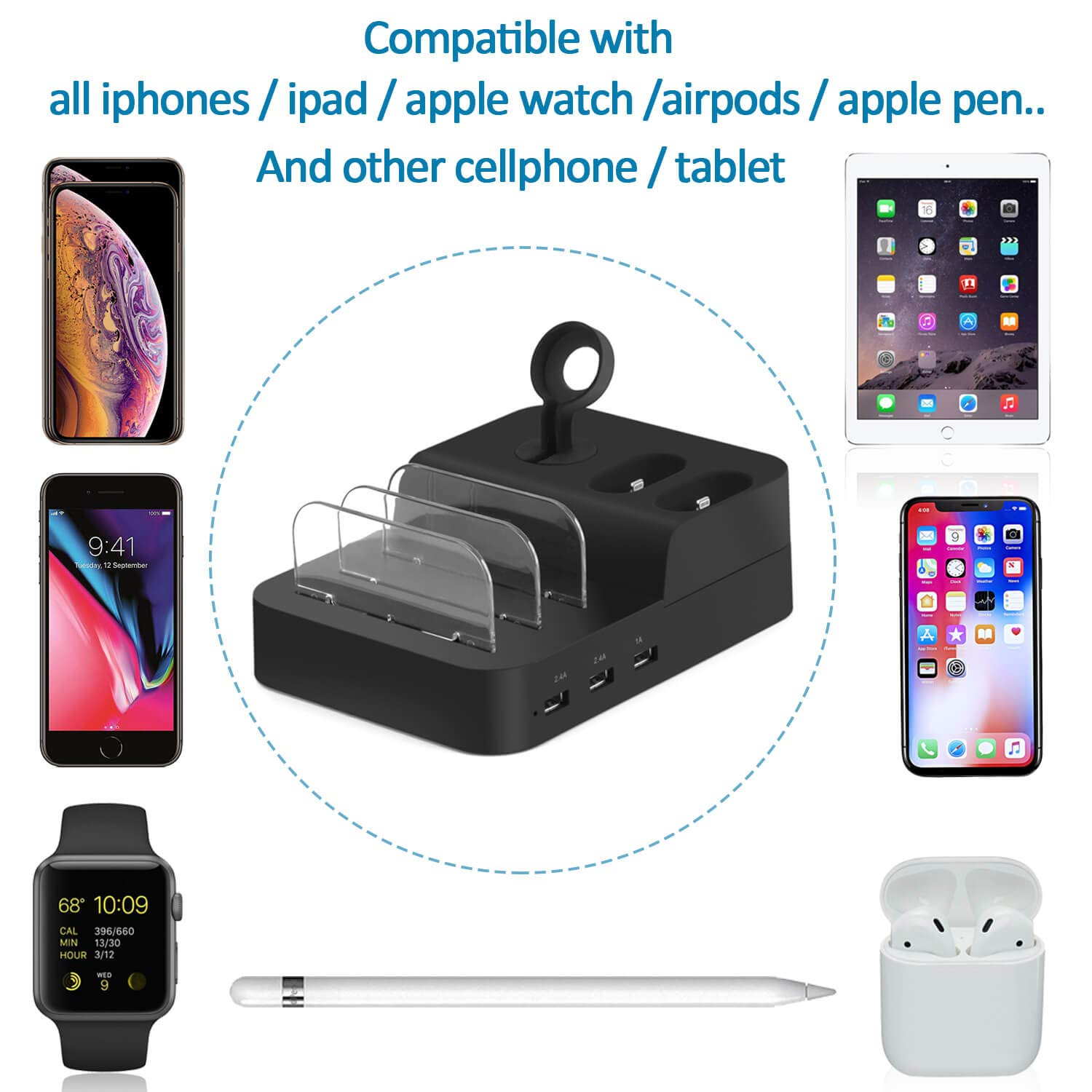 Watch and Cell Phone Airpods Charging Dock Holder, 6 Port Detachable Usb Desktop Quick Charge Station Organizer for Multiple Electronic Device ...