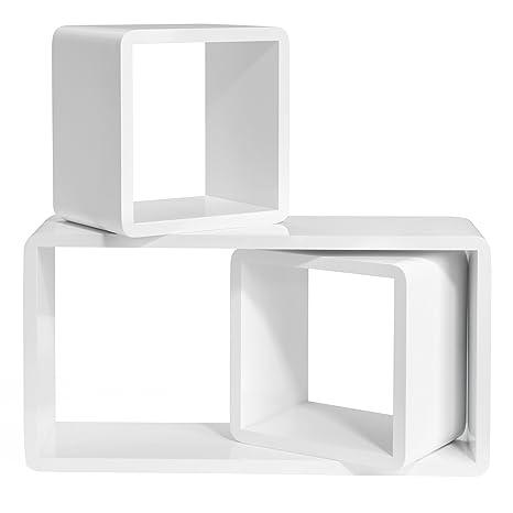 SONGMICS Baldas flotantes Juego de 3 estantes murales Estanterías de Cubos Tamaño Grande, Profundidad de 15 cm Blanco LWS50WT