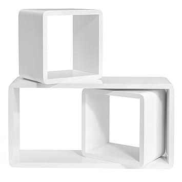 SONGMICS étagères murales Lot de 3 Etagères flottantes étagères de Cube  Profondeur de 15cm, Décoration 3a509a36f981
