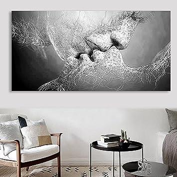 GREEN HOME 1 1 Paar Leinwand Wand Ölgemälde Bild Schwarz Und Weiß Mädchen  Kuss Kunst Gemälde