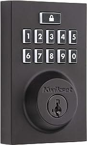 Kwikset 99140-028 SmartCode 914 Modern Contemporary Smart Lock Keypad Deadbolt with SmartKey Security and Z-Wave Plus, Iron Black